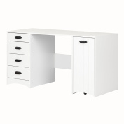 South Shore 10544 Artwork Pure White Sewing Craft Table with Storage