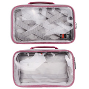 Travel Packing Organiser, BUBM Lightweight Nylon Clear Organiser Bag for Makeup, Toiletries, Electronic Accessories and Women Men Personal Items