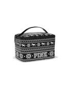 VICTORIA'S SECRET PINK BLACK & WHITE TRAIN MAKE-UP TRAVEL CASE BAG