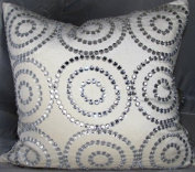 Ivory Jewel Circles Velvet - 50cm x 50cm . Pillow