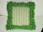 Two-Tone Border Pillow in Ivory/Green - 46cm x 46cm .