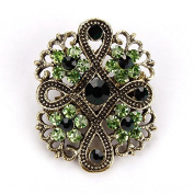 1 pc Antique Gold Plated Crystal Rhinestones Vintage Flower Brooch Collar Lapel Pins for Women # 01