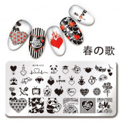 NICOLE DIARY 1Pc Rectangle Stamping Plate Love Valentine's Day Pattern 12cm x 6.1cm Nail Art Plate