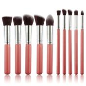 10Pcs Makeup Brush Set Cosmetics Foundation Brush Beauty Eyliner Blending Brushes Make up Brushes Kit Silvery Pink