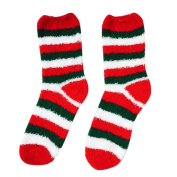 OVERMAL Mens Women Warm Thick Coral Fleece Stripe Slipper Non-slip Socks Floor Towel