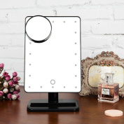 Makeup Mirror ,HifinaTouch Screen Dimmable 20 LED Lighted Makeup Mirror Cosmetic Vanity Mirror with Removable 10x Magnifying Mirrors for Bedroom, Tabletop, Bathroom, Dressing, Shaving, Travel