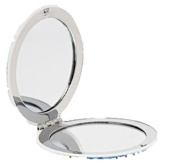 Glam & Beauty Compact Mirror, Silver, 2-pack