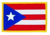 Puerto Rico Flag Patch Gold Border (IRON-ON), Size 8.6cm x 5.7cm - us flag, american flag patch, flag patch uniform school logo jacket - Sold by Uniform World