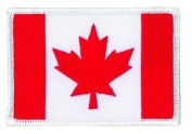 Canada Flag Patch White Border (IRON-ON), Size 8.6cm x 5.7cm - Canadian Maple Leaf Patch, us flag, american flag patch, Canadian flag patch uniform school logo jacket - Sold by Uniform World