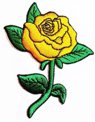 Rose Golden rose Yellow rose Golden flower Fantasy flower PATCH Sew Iron on Embroidered Applique Sign Vest Jackt T shirt Costume Gift