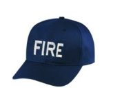 FIRE - Cap/ Hat Patch - White/ Dark Navy Blue, Adjustable - Police Patch, Gaol, Prison, Corrections - Sold by UNIFORM WORLD