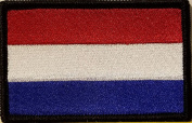 [Single Count] Custom and Unique (8.9cm x 5.7cm Inches) KINGDOM OF NETHERLAND National FLAG Rectangle Patriotic National Bordered Flag Badge Iron-On Embroidered Applique Patch BLACK BORDER