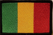 [Single Count] Custom and Unique (8.9cm x 5.7cm Inches) MALI National FLAG Rectangle Patriotic National Bordered Flag Badge Iron-On Embroidered Applique Patch BLACK BORDER