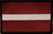 [Single Count] Custom and Unique (8.9cm x 5.7cm Inches) LATVIA National FLAG Rectangle Patriotic National Bordered Flag Badge Iron-On Embroidered Applique Patch BLACK BORDER