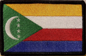 [Single Count] Custom and Unique (8.9cm x 5.7cm Inches) COMOROS FLAG Rectangle Patriotic National Bordered Flag Badge Iron-On Embroidered Applique Patch BLACK BORDER