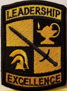 [Single Count] Custom and Unique (6cm X 7.9cm Inches) ROTC Symbol Embroidered Iron-On Patch LEADERSHIP EXCELLENCE Emblem Military Version V Badge Iron-On Embroidered Applique Patch