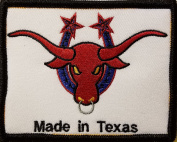 [Single Count] Custom and Unique (10cm X 7.9cm Inches) MADE IN TEXAS STATE Symbol Embroidered Iron-On Patch TEXAN BULL Emblem SOUTH Version VIII Badge Iron-On Embroidered Applique Patch