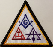 [Single Count] Custom and Unique (7.6cm x 7.9cm Inches) Freemason Symbol Embroidered Iron-On Patch Masonry Emblem Mason Version II Badge Iron-On Embroidered Applique Patch