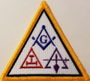 [Single Count] Custom and Unique (7.6cm x 7.9cm Inches) Freemason Symbol Embroidered Iron-On Patch Masonry Emblem Mason Version I Badge Iron-On Embroidered Applique Patch