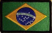 [Single Count] Custom and Unique (8.9cm x 5.7cm Inches) BRAZIL FLAG Rectangle Patriotic National Bordered Flag Badge Iron-On Embroidered Applique Patch BLACK BORDER