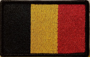 [Single Count] Custom and Unique (8.9cm x 5.7cm Inches) BELGIUM FLAG Rectangle Patriotic National Bordered Flag Badge Iron-On Embroidered Applique Patch BLACK BORDER