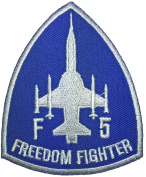 F-5 Freedom Fighter Tiger II Embroidered Applique Sewing Iron on Patch - Blue