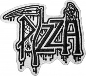Pizza Grim Reaper Skull Ghost God Of Death Scythe Motorcycle Riding Rider Biker Vest Jacket Embroidered Sewing Iron on Patch - White