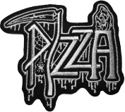 Pizza Grim Reaper Skull Ghost God Of Death Scythe Motorcycle Riding Rider Biker Vest Jacket Embroidered Sewing Iron on Patch - Black