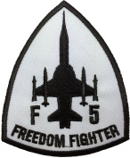 F-5 Freedom Fighter Tiger II Embroidered Applique Sewing Iron on Patch - White