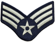 Senior Airman Chevrons Rank Large US Air Force USAF Military U.S. Army Morale Applique Embroidered Sewing Iron on Emblem Badge Patch - Blue and Silver (1 Piece)