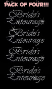 BRIDE'S ENTOURAGE clear rhinestone iron-on Hotfix transfer bling DIY- Lot of 4!!!