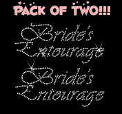 BRIDE'S ENTOURAGE clear rhinestone iron-on Hotfix transfer bling DIY- Lot of 2!!!