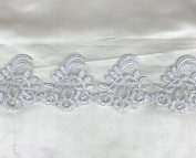 White pearl and sequined lace trim, beading cord lace trim, bridal lace trim selling per yard