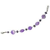 Perlmuttarmband purple pearl discs Ladies lobster clasp nickel free 18cm 20cm