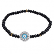 Brass bracelet golden eye of Fatima black blue Zirconia rings adjustable