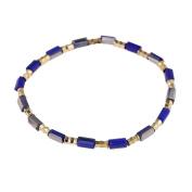 Bracelet stones blue grey gold shiny adjustable