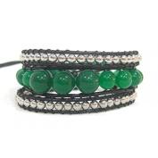 Bracelet green black brass chain jade beads waxed thread butterfly adjustable