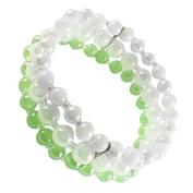 Beaded bracelet light green white three-layer pearl elastic adjustable Bracelets