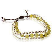 Bracelet three layers light green stones Brass Pearl Cotton waxed brown nickel free adjustable