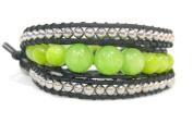 Bracelet light green black brass chain Lime Stone beads waxed thread butterfly adjustable