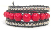 Bracelet red coral beads chain brass waxed thread butterfly adjustable