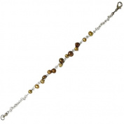 Pearl bracelet Ladies gold brown pearl jewellery wire carabiner 18 cm nickel free