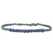 Boneperlen purple bracelet grey waxed thread unisex handgef.¤delt friendship bracelets