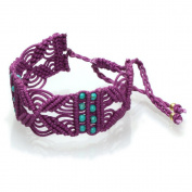 Bracelet purple 24mm turquoise beaded gold brass nickel-free cotton bracelets adjustable Ibiza