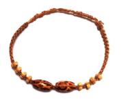 Bracelets Pattern orange brown Friendship bracelet bracelet wooden beads waxed cotton Unisex