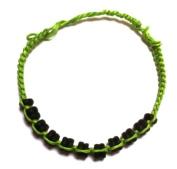 Bracelet green black pearl wax thread wood handgef.¤delt Unisex Jewellery Bracelets