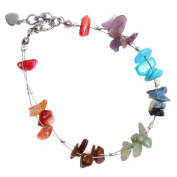 Stone Chip Bracelet colourful bunch of nickel-free metal fastener 19cm-22cm