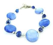 Perlmuttarmband blue pearl discs Ladies lobster clasp nickel free 18cm 20cm