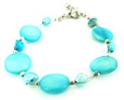 Perlmuttarmband light blue pearl discs Ladies lobster clasp nickel free 18cm 20cm