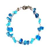 Splitter Glasperlenarmband blue ladies lobster clasp nickel free 18cm 20cm